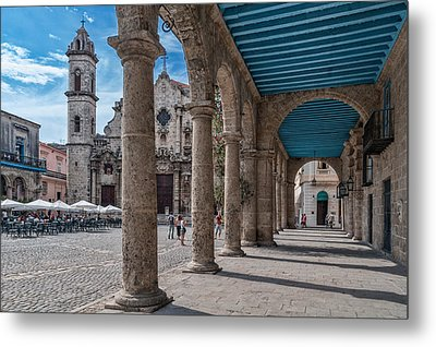 Havana Cathedral And Porches. Cuba Metal Print