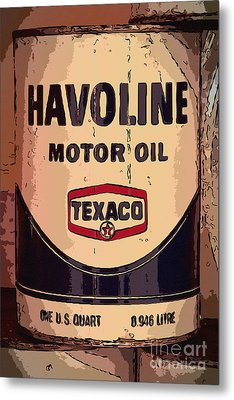Havoline Motor Oil Can Metal Print by Carrie Cranwill