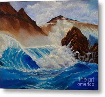 Metal Print featuring the painting Hawaii On The Rocks by Jenny Lee