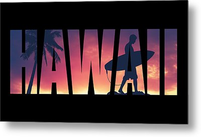 Hawaii Postcard Metal Print by Mr Doomits
