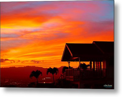Metal Print featuring the photograph Hawaii Sunset Behind The Waianae Mountain Range by Aloha Art
