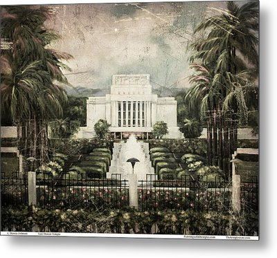 Hawaii Temple Laie Antique Metal Print