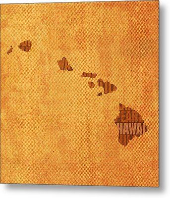 Hawaii Word Art State Map On Canvas Metal Print by Design Turnpike