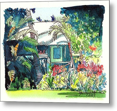 Metal Print featuring the painting Hawaiian Cottage 3 by Marionette Taboniar