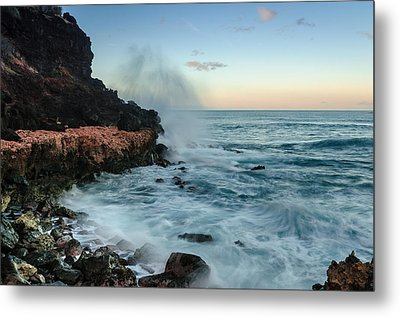 Metal Print featuring the photograph Hawaiian Lava Rocks And Crashing Waves by RC Pics