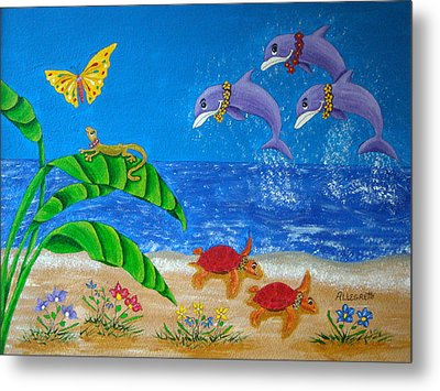 Hawaiian Lei Day Metal Print by Pamela Allegretto
