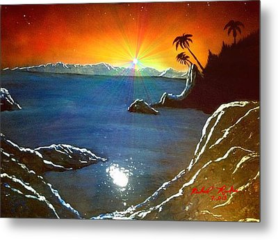 Metal Print featuring the painting Hawaiian Sunset by Michael Rucker