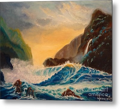 Metal Print featuring the painting Hawaiian Turquoise Sunset   Copyright by Jenny Lee