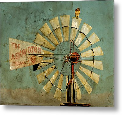 Aermotor And Red-tail Metal Print