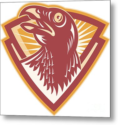 Hawk Head Shield Retro Metal Print by Aloysius Patrimonio