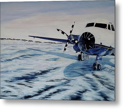 Metal Print featuring the painting Hawker - Airplane On Ice by Marilyn  McNish