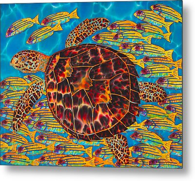 Hawksbill Sea  Turtle And  Snappers Metal Print