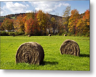 Hay Bales And Fall Colors Metal Print by Christina Rollo