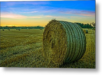 Metal Print featuring the photograph Hay Bales Before Dusk by Alex Weinstein