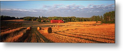 Hay Bales In A Field, Flen Metal Print