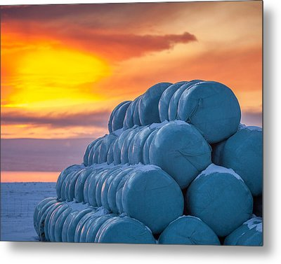 Hay Bales Wrapped In Plastic For Winter Metal Print by Panoramic Images