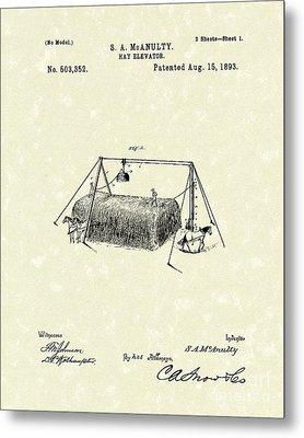 Hay Elevator 1893 Patent Art Metal Print by Prior Art Design