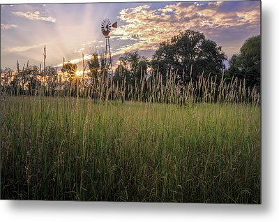 Hay Field Sunset Metal Print by Bill Wakeley