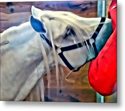 Hay For The White Horse Metal Print by Alice Gipson