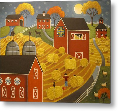 Hay Harvest Metal Print by Mary Charles