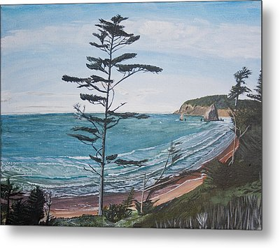 Metal Print featuring the painting Hay Stack Rock From The South On The Oregon Coast by Ian Donley