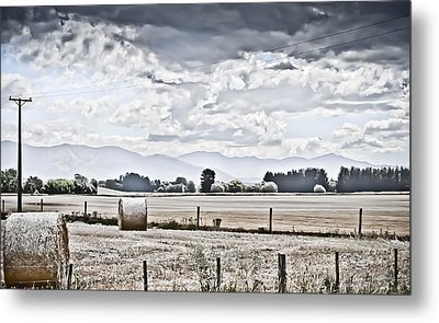 Haybales Fields Trees And Clouds Metal Print by Shivonne Ross