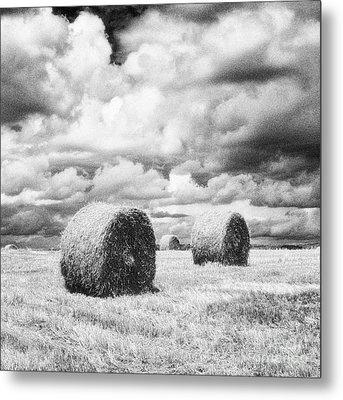 Haybales Uk Metal Print by Jon Boyes