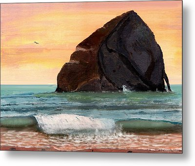 Haystack Rock At Kiwanda Metal Print by Chriss Pagani