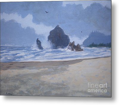 Metal Print featuring the painting Haystack Rock Drama by Suzanne McKay