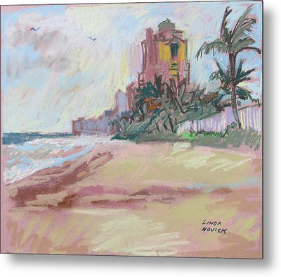 Metal Print featuring the painting Hazy Beach by Linda Novick