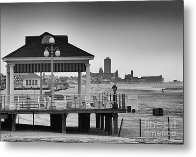 Hdr Beach Boardwalk Photos Pictures Art Sea Ocean Photograph Scenic Landscape Black White Metal Print by Pictures HDR