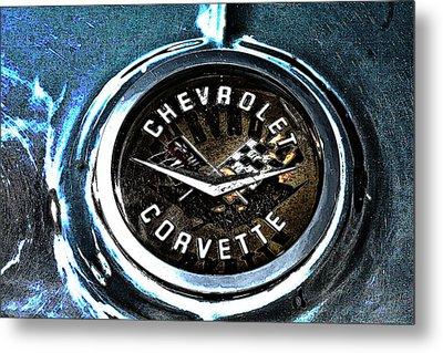 Metal Print featuring the photograph Hdr Vintage Corvette Emblem Art by Lesa Fine