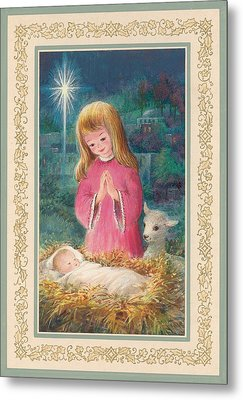 He Lay In A Manger Gouache Metal Print by Stanley Cooke