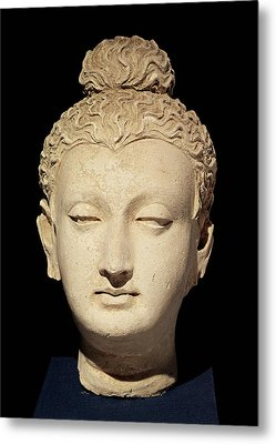 Head Of A Buddha, Greco-buddhist Style, From Hadda Stucco Metal Print by Afghan School