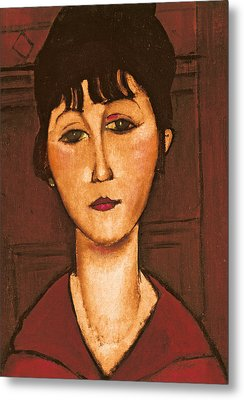 Head Of A Girl Metal Print by Amedeo Modigliani