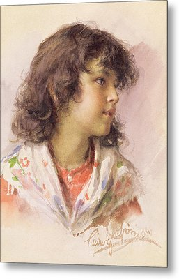 Head Of A Girl Metal Print by Ludwig Passini
