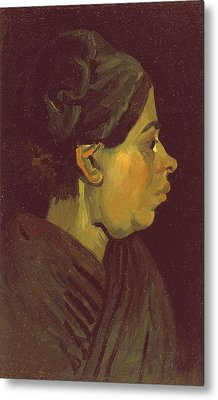 Head Of A Peasant Woman, C.1884 Oil On Canvas On Wood Panel Metal Print by Vincent van Gogh