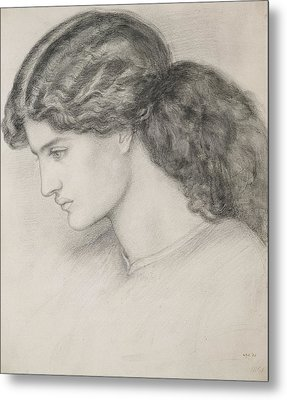 Head Of A Woman Metal Print by Dante Gabriel Charles Rossetti