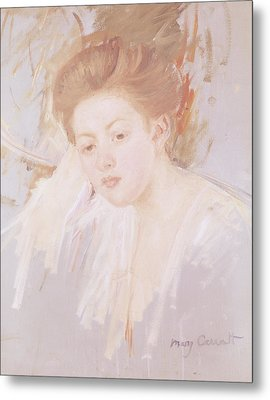 Head Of A Young Girl Pastel On Paper Metal Print by Mary Stevenson Cassatt