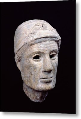 Head Of An Old Woman, From Cerveteri Clay Metal Print by Etruscan