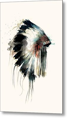 Headdress Metal Print by Amy Hamilton