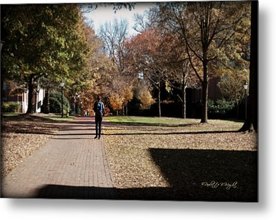 Heading To Class - Davidson College Metal Print by Paulette B Wright