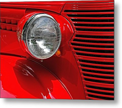 Metal Print featuring the photograph Headlight On Red Car by Ludwig Keck