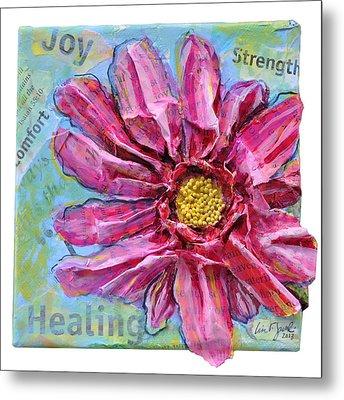 Healing Pink Zinnia Metal Print by Lisa Fiedler Jaworski