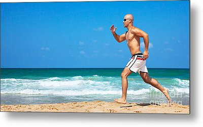 Healthy Man Running On The Beach Metal Print by Anna Om