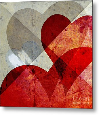 Hearts 8 Square Metal Print by Edward Fielding
