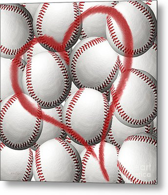 Heart Baseballs Metal Print by Andee Design