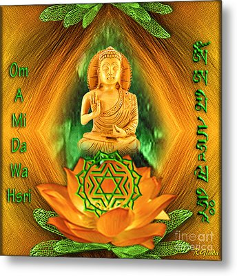 Metal Print featuring the digital art Heart Chakra And Mantra - Spirituality Art By Giada Rossi by Giada Rossi