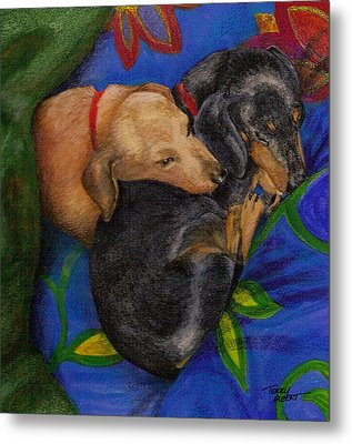 Heart Dogs Metal Print