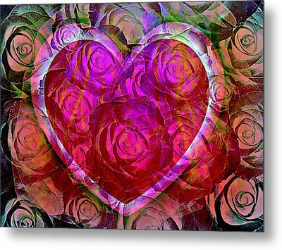 Heart Felt Roses Metal Print by Shirley Sirois